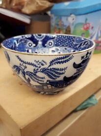 Burleighware Pot - vintage sugar bowl sweet dish blue white