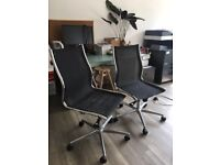 2 Black office chairs (2 together or separately!) , very comfy - we are downsizing!