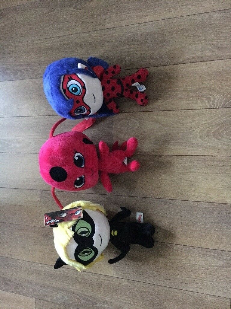 3 miraculous soft toys.