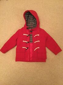 Boys M&S Autograph Red Duffle Coat Age 3-4