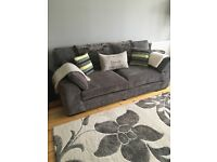 Grey velvet 3 seater sofa