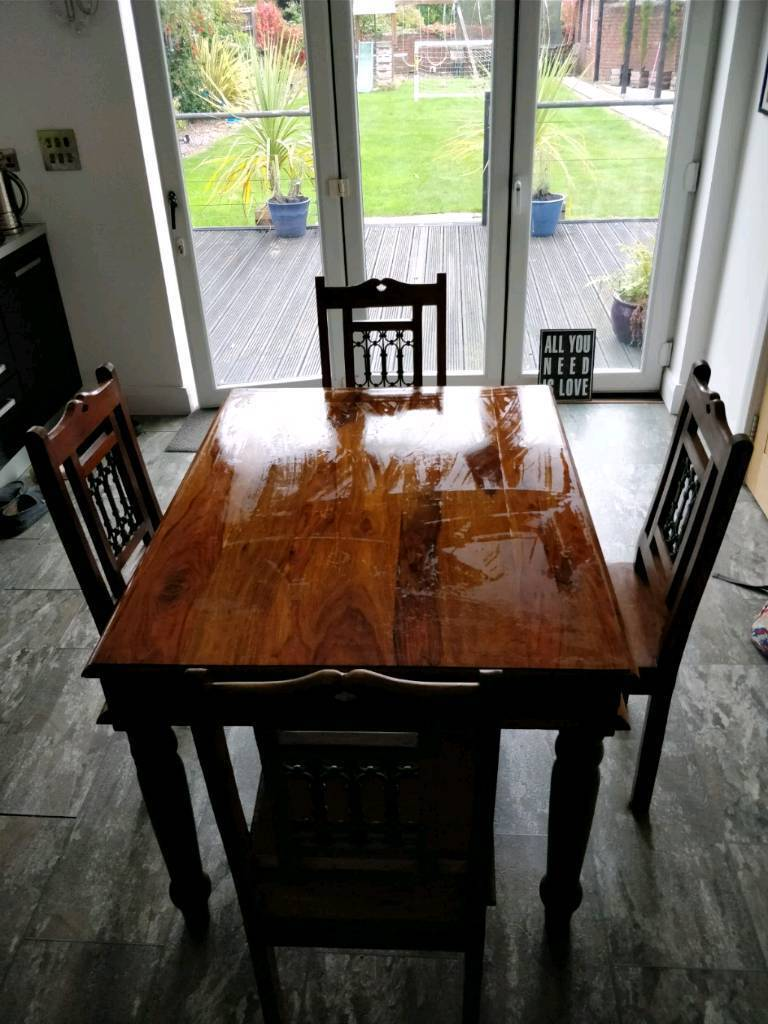 Indian Sheesham Wood Dining Table 4 Chairs