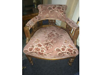 Lovely Victorian Upholstered Carved Back Ladies Tub Chair