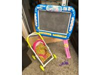 Free chalk board and kids pushchair x2.