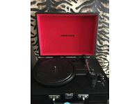 Crosley black and red record player