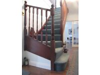 Heavy domestic grade light-mid green Wilton stair carpet. Can be viewed.