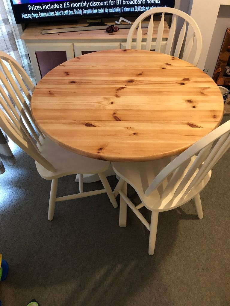 Shabby chic table and chairs drop leaf