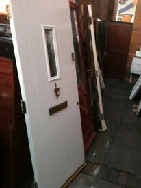 Exterior composite door with small double glazed panel