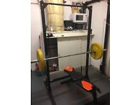 Home gym equipment / squat rack / olympic bar / weights