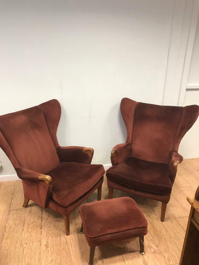 Pair Of Mid Century Wing Back Chairs Amp Stool In