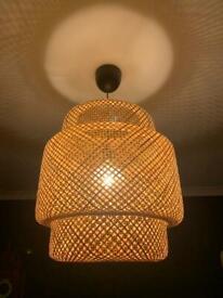 Ikea Sinnerlig bamboo pendant lampshade and bulb