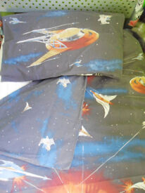 Single duvet cover and pillow case - Spaceships