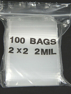 1 Lot Of 100 Ziplock Sealable 2 X 2 Small Plastic Bags