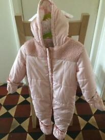 Girls pink Snowsuit 9-12months