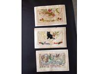 Three WW1 silk postcards