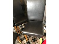 Four x Dining Chairs in Brown Faux Leather