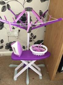 Washing line and iron and ironing board