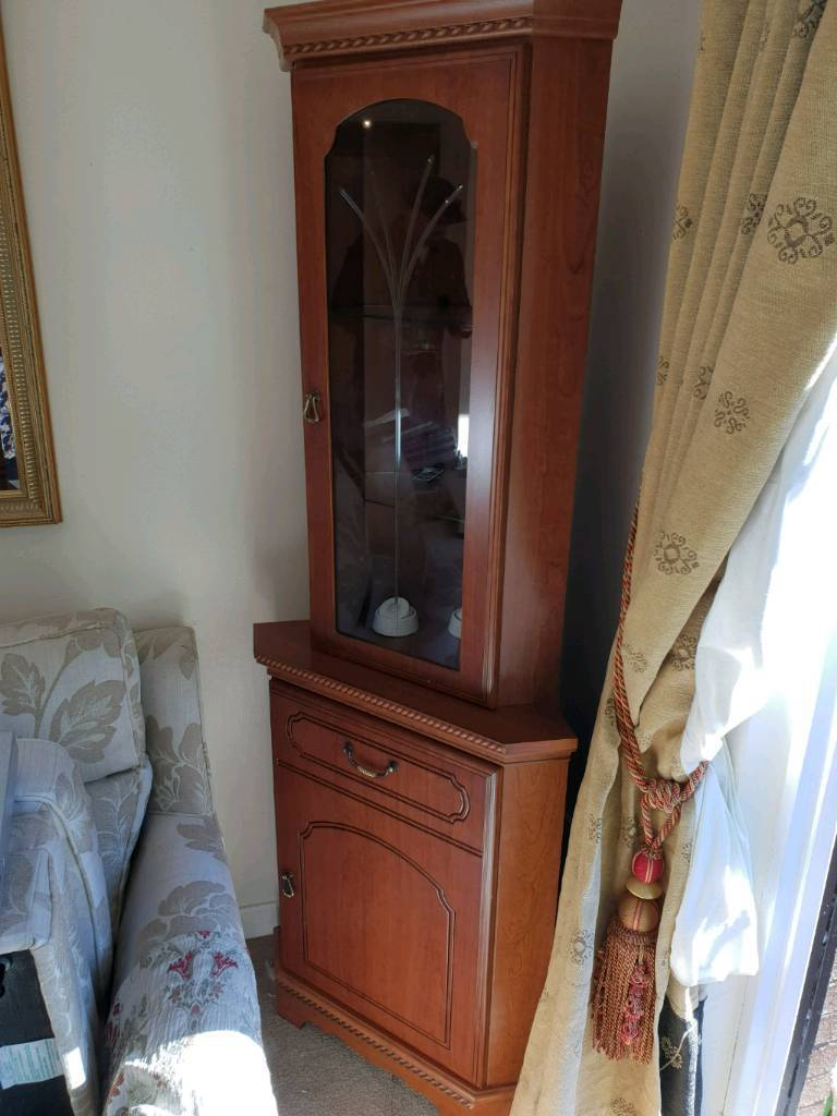 Dark Wood Matching Corner Cabinet Display Tv Stand