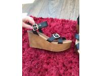 Primark Wedges with Black Strap -Size 6! NEVER WORN