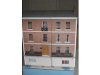 GEORGIAN-STYLE DOLLS' HOUSE 3 floors plus basement. Can be wall hung to ideal height for a child.