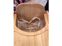 Wooden Adjustable High Chair with harness- Mothercare