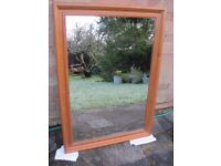 Large Mirror in wooden frame.