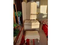Victorian Style Bedroom Set consists of Ottoman, Vanity Screen and Stool