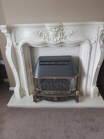 Louis plaster surround and marble hearth and back panel