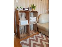 4 Strong&Solid Vintage Wooden Fruit Apple Crates Boxes Cleaned!