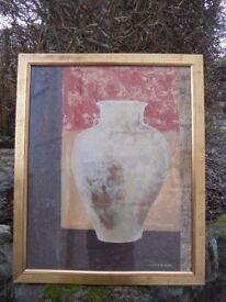 Large gilt-framed Isabelle de Borchgrave print of an Etruscan terracotta urn