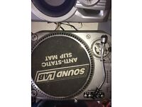 Soundcard +Beginner dj package Kam direct drive turntables