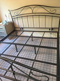 Super-king 6 ft pewter metal bed frame and mattress