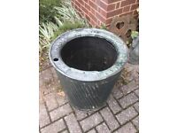 VINTAGE DOLLY TUB, PLANTER, POT, RIVETED, GALVANISED WASH TUB BRITISH NON-SPLASH