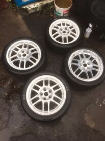 Mitsubishi Evolution EVO 17x7 ET38 5x114.3 Alloy Wheels with Nuts AO48 Tyres