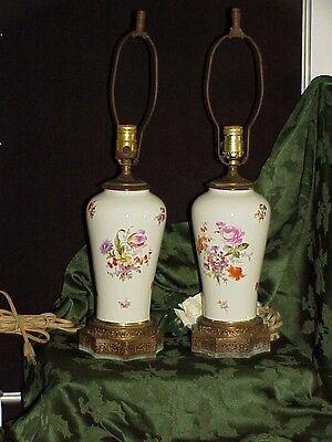 Rare 1800's German MEISSEN Porcelain Augustus Rex Vase Lamps Set / Pair Antique