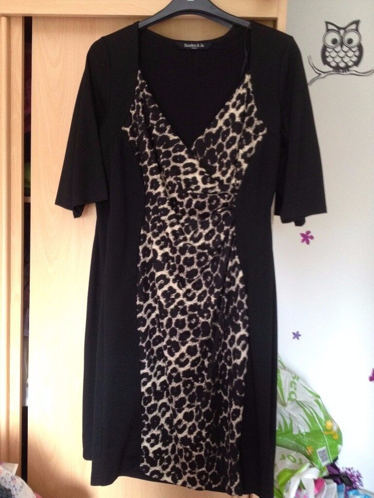 Scarlet & Jo (Evans) Black and Leopard Dress size 18