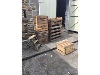 11 wooden fruit crates 1 lock crate and small ladders