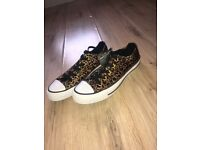 Brand new unused size 4 leopard print converse £20