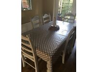 6 seater solid farmhouse table and chairs - shabby chic seller refurbished - bargain!