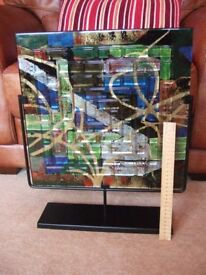 Gorgeous Large Piece Of Colourful Glass Art In Sliding Metal Frame