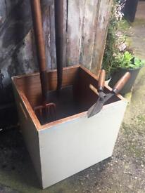 Old wooden box storage with handles vintage garden shed