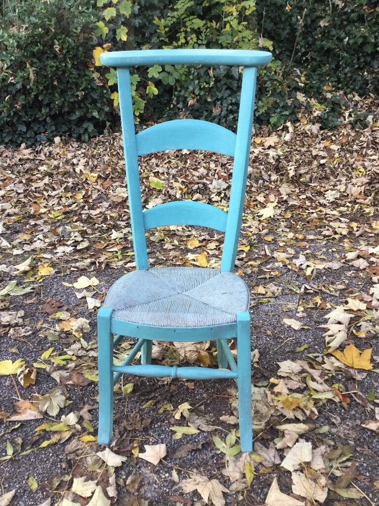 Vintage Chapel Chair - Hall Rush Seat Chair - High Back - Annie Sloan Provence Colour - country chic