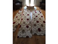 Four pairs Dunelm Lalique Wine Lined Eyelet Curtains