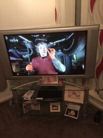 "42""; philips plasma tv and glass tv stand"