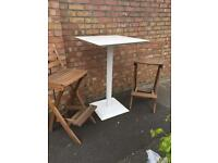 Garden table and wooden foldaway chair