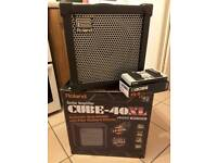 Roland Cube 40XL guitar amplifier with Boss FS-6 dual footswitch