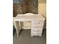 Solid pine desk / bedroom dressing table with drawers shabby chic