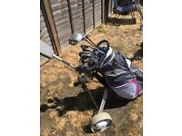 Ladies full set of Macgregor golf clubs and brand new golf bag