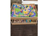 Child's wooden train table
