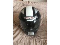 Black and white viper helmet